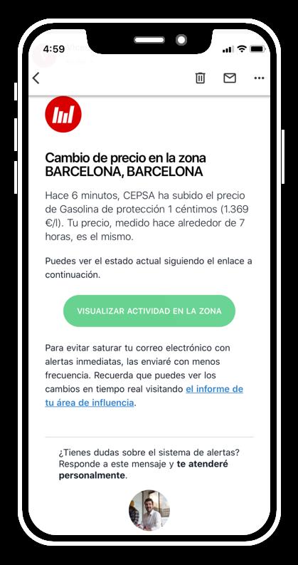 Captura de pantalla mostrando una alerta enviada por correo electrónico